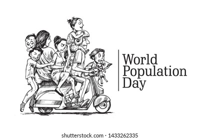 World Population Day, 11 July, Happy with his family sitting on scooter- Hand Drawn Sketch Vector illustration.
