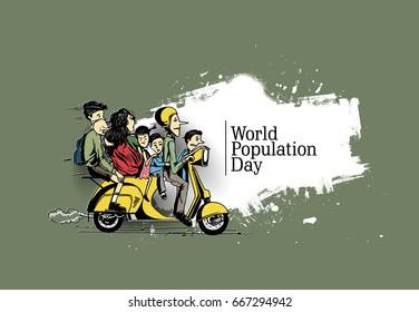 World population day 11 July, Hand Drawn Sketch Vector illustration.