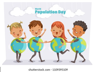 World population day. Four cute children in mascot orb. Performed on stage at school. Common activities of boys and girls. group child on stage. cartoon vector illustration isolated white background.