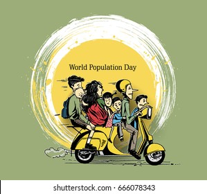 World Population Day, Hand Drawn Sketch Vector illustration.