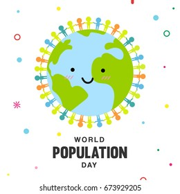 World population day vector illustration, People icon holding hands around cute Earth on colorful geometry shape background.