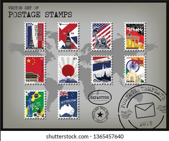 World Postage Stamp Template