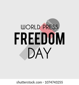 World Press Freedom Day banner. Vector background with microphone for World Press Freedom Day, May 3.