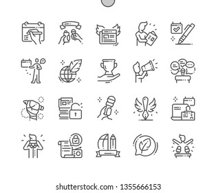 World Press Freedom Day Well-crafted Pixel Perfect Vector Thin Line Icons 30 2x Grid for Web Graphics and Apps. Simple Minimal Pictogram