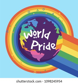 World Pride Earth Rainbow Circle Background Vector Image