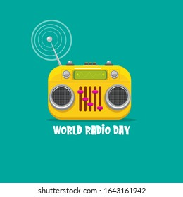 World radio day concept vector illustration with vintage old orange cassette stereo player isolated on turquoise  background. Radio day banner or poster
