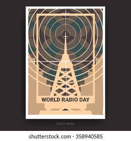World radio day poster design with minimal broadcasting radio tower