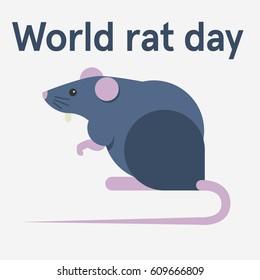 World rat day. Flat vector stock illustration