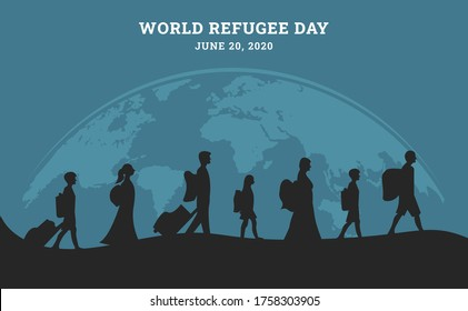 World refugee day background with people as refugee walking seek home in black silhouette. Flat style vector illustration concept of migrant awareness campaign for banner and poster.