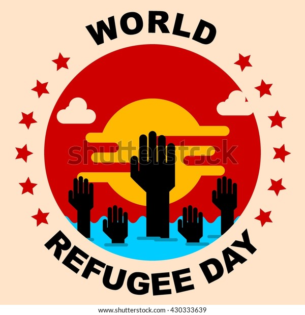 World Refugee Day Campaign Poster Refugee Stock Vector