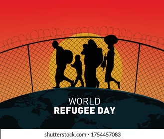 World Refugee day concept Vector Illustration. World refugee day campaign poster or awareness poster template. refugee families near the fence- International Migrants Day concept.