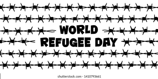 World refugee day International day  remembrance of slave trade and its abolition Freedom Refugees Vector icon icons sign signs symbol fun funny Sea boat camp barbwire june Barbed wire Migrants UNHCR