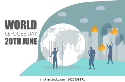 World Refugee Day. Metaphor concept of social event. 20 June. Burning city, there is a war, refugees are fleeing, refugee is trying to open bars to get to a safe place.
