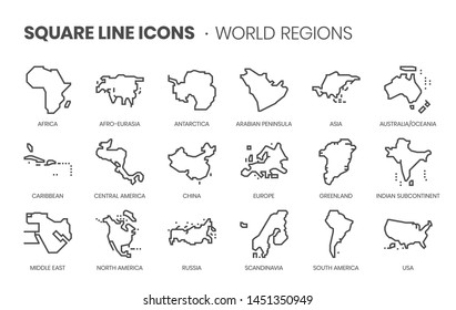 World Regions related, pixel perfect, editable stroke, up scalable square line vector icon set.