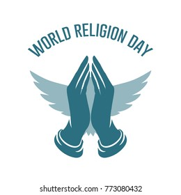 World Religion Day logo template. Prayer hands with wings vector illustration.