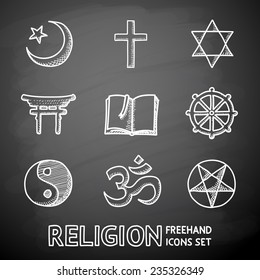 World religion hand drawn on a chalk board symbols set with - christian, Jewish, Islam, Buddhism, Hinduism, Taoism, Shinto, pentagram, and book as symbol of doctrine.