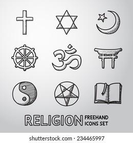 World religion hand drawn symbols set with - christian, Jewish, Islam, Buddhism, Hinduism, Taoism, Shinto, pentagram, and book as symbol of doctrine.