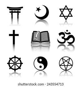 World religion monochrome symbols set with reflections - christian, Jewish, Islam, Buddhism, Hinduism, Taoism, Shinto, pentagram, and book as symbol of doctrine.