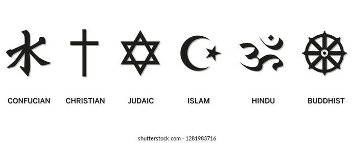 World religion symbols - Christianity, Islam, Hinduism, Confucian, Buddhism and Judaism, with English labeling. Illustration. Eps10 Vector