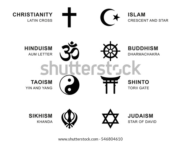 World religion symbols. Eight signs of major religious groups and religions. Christianity, Islam, Hinduism, Buddhism, Taoism, Shinto, Sikhism and Judaism, with English labeling. Illustration. Vector.
