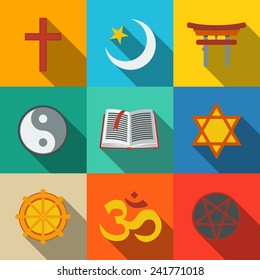 World religion symbols flat set with - christian, Jewish, Islam, Buddhism, Hinduism, Taoism, Shinto, pentagram, and book as symbol of doctrine.