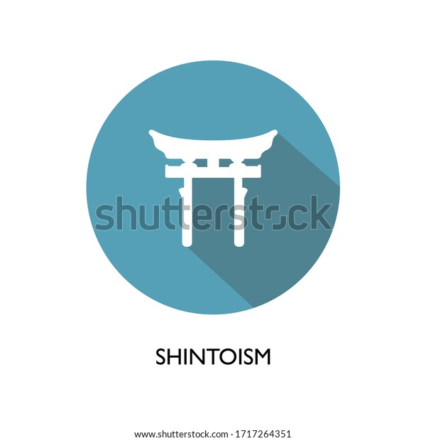 World religion symbols. Signs of major religious groups and religions. Realistic Symbol of Japan, shintoism religion