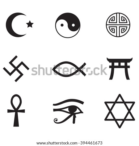 World Religions Symbols Icon Set Vector Stock Vector Royalty Free