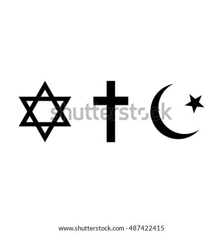 World Religions Symbols Judaism Christianity Islam Stock Vector