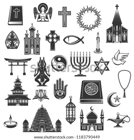 World Religions Symbols Religious Signs Vector Stock Vector Royalty
