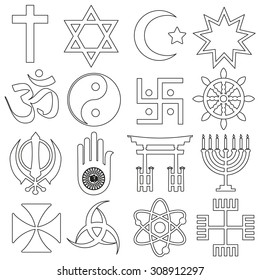 world religions symbols vector set of outline icons eps10