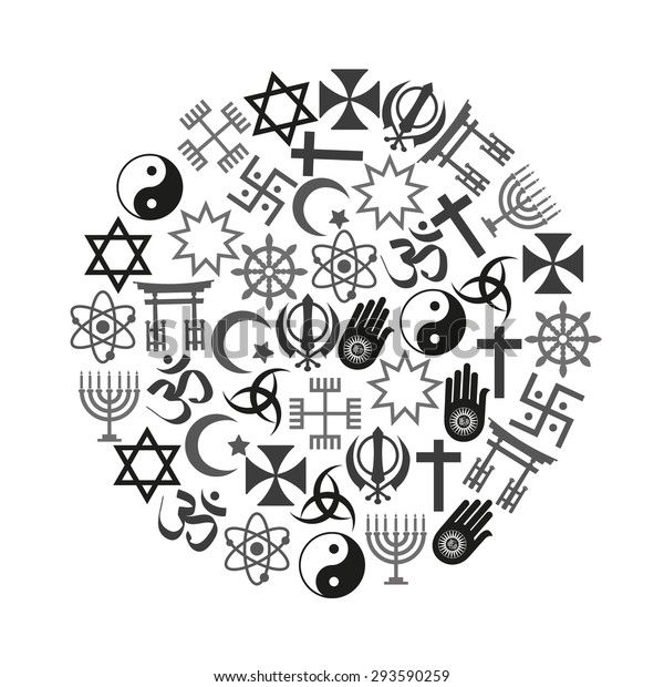 world religions symbols vector set of icons in circle eps10
