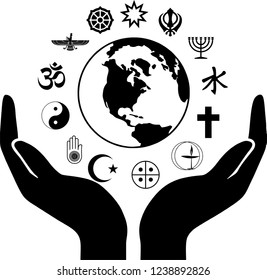 World Religious Symbols with Open Hands and Earth Globe Silhouette
