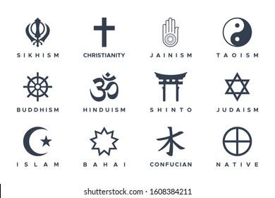 World Religious Symbols Set isolated on white background. Flat Vector Icon Design Template Element