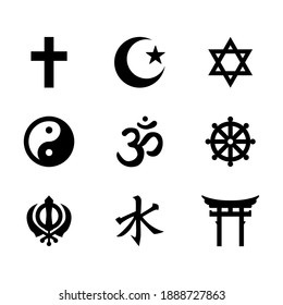 World religious symbols, Signs of major religious groups, and religious. Christianity, Islam, Judaism, Hinduism, Buddhism, Taoism, Shinto, Sikhism, and Confucianism isolated on white background