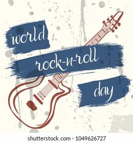 World Rock-n-Roll Day poster in grunge style