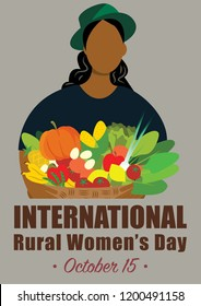 World Rural Woman's Day vector illustration for International Day of Rural Women in october
