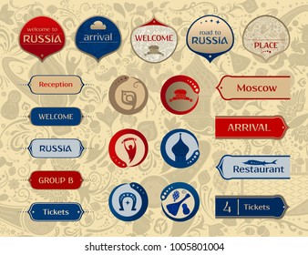 World of Russia, set of icons, buttons, frames, arrows with traditional and modern russian elements, 2018 trend, vector templates