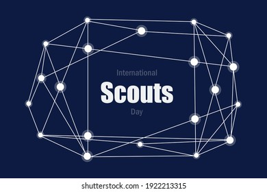 World scouts day for unity,  volunteer work.  Connection with scouts people vector design.  Social media post design for scouts day in February.