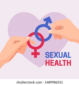 World Sexual Health Day vector illustration poster concept . Couple hand holding connected male female gender sex symbol with heart banner background template flat graphic design style.