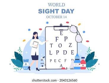 World Sight Day Background Vector Illustration Which is Commemorated Every Year for Where to Check Vision, Blindness, and Visual Impairment on the Eyes Concept