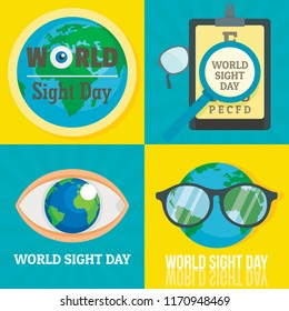 World sight day banner set. Flat illustration of world sight day vector banner set for web design