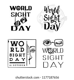 World sight day banner set. Simple illustration of world sight day vector banner set for web design