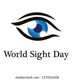 World sight day blue eye icon vector illustration EPS10