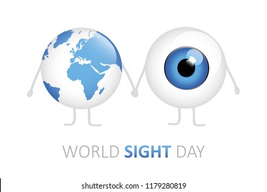 world sight day blue eye and earth holding hands cartoon vector illustration EPS10
