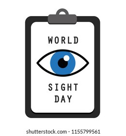 World sight day clipboard blue eye vector illustration EPS10
