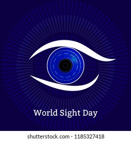 World Sight Day. Concept of a holiday of health. Symbolic image of the eye. Technological textures - computer diagnostics of eye diseases