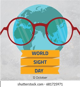 World Sight Day, October. Global spectacles conceptual illustration vector.