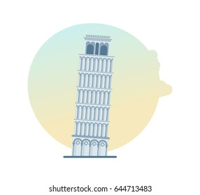 World sights. Architectural beautiful historical building, Leaning Tower of Pisa, Italy, Europe. Modern vector illustration isolated on white background.