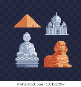World sights pixel art style icons. Architectural buildings. Famous tourist attractions. Vacation time. Stickers design. Standing Buddha, Sphinx and Egypt Pyramid Cheops Isolated vector illustration