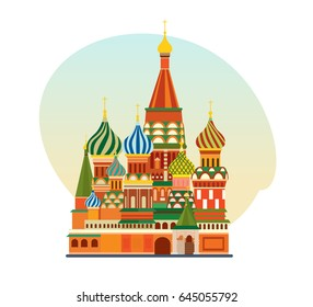 World sights. Travel to Europe. Architectural building. Well-known monument of Russian architecture, famous Orthodox Church of St. Basil Blessed. Vector illustration isolated on white background.
